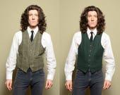mens vintage vest 60s 70s reversible vest glen plaid forest green houndstooth 1970 M medium 38-40R