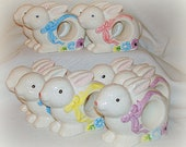 Ten (10) White Bunny Napkin Holders Vintage Ceramic Beautifully Painted Sturdy on Self Base Perfect Table Accessory for Easter Spring Summer