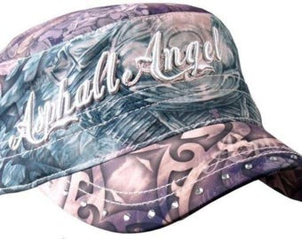 Asphalt Angel Women'S Sublimation Ball Hat Cap Biker Motorcycle Rider #Bcb1003