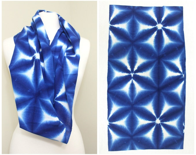 Indigo Shibori Cotton. Japanese Vintage Folk Textile (Ref: 1706)