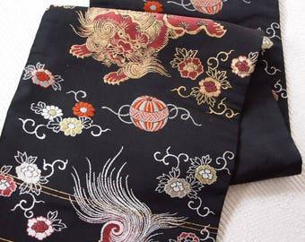 Japanese Obi belt, Nagoya obi, kimono obi belt, Black Komainu, Korean dogs 30/330
