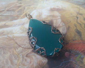 Vintage RARE Teal Art Deco Czech Glass UPCYCLED Filigree Pendant