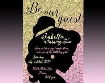 Beauty & The Beast Birthday Invitation