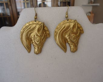 Handmade Brass Zebra Head Earrings on Pierced Ear Wires