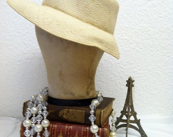 CLOSING SHOP SALE Vintage 1940s Panama Hat forties Woven Straw
