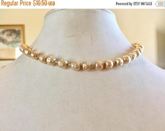 SPRING SALE Shabby Chic Vintage Single Strand Bumpy Ivory Glass Pearl Necklace
