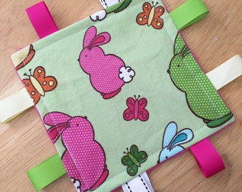 Easter Bunny Crinkle Toy Cotton and Minky Crinkle Square Spring Colors Fuschia Lime Yellow Orange