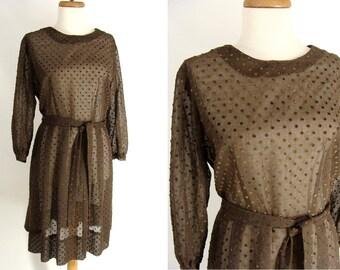 SALE was 48.88 vintage 60s Dress. Sheer Brown Dress. Day Dress. Flocked Dress. Polka Dot Dress. Dotted Swiss Dress. 50s Dress. Size L 14