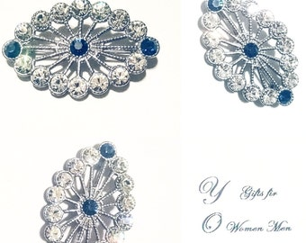Brooch Silver Tone Blue and Clear Rhinestones Vintage Jewelry Jewellery Accessory Bridal Sash Gift Guide Women Mid Century