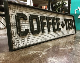 Coffee and Tea Wooden Cyber Cafe Wood Sign Subway Tile Sign Morning Cup Breakfast Nook Home Decor