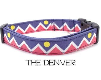 Denver Flag Dog Collar, The Denver, Denver Dog Collar, Colorado Dog Collar, Denver, Colorado Gift, Mountain Sun Dog Collar (Leash Available)