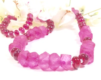 Apple blossom pink  necklace...lampworked glass and recyled glass