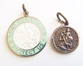 "Lot of Two Vintage Sterling Silver St. Christopher Medals: One Enameled Signed Regina & Engraved ""Dee""; One Small All Silver in High Relief"