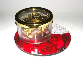 Somewhere in Time - Carousel Music Box by Odyssey - Gold On/Off Switch - Red Roses
