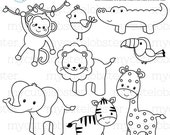 Safari Animals Digital Stamps - outlines, line art, giraffe, monkey, lion, coloring - personal use, small commercial use, instant download