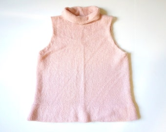 pink mohair sleeveless sweater - medium