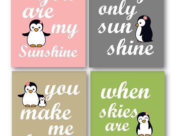 Penguin Art // Art for Girls  // You Are My Sunshine Art Prints // Girls Nursery Decor // Baby Girl Nursery Art // Four PRINTS ONLY UNFRAMED