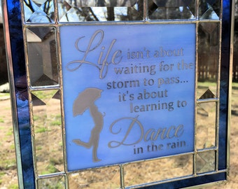 Contemporary Stained Glass Panel Suncatcher - Etched Life Dance Rain Blue (PLG090)