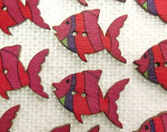 """Pink & Red Stripes: 1-1/16"""" (27mm) Fish-Shaped Buttons - Set of 10 New / Unused Wooden Buttons"""