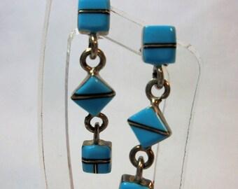 Vintage Sterling Silver Turquoise Earrings 3.2 Grams 925 Native American Retro Artisan Boho Dangle Pierced Tribal