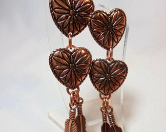 Vintage Sunrise Solid Copper Earrings Hearts & Feathers Pierced Dangle USA Boho Artisan Retro Native