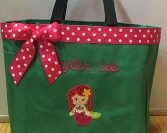 Personalized Mermaid Girl Tote Bag Baby Diaper Bag