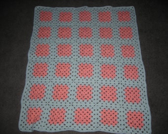 Crochet Baby Afghan - Pink And White Granny Squares