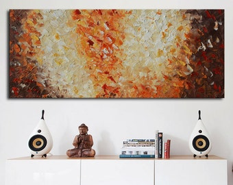 Huge Original Modern Abstract beige brown painting, impasto Orange  Painting, long painting ready to hang xxl ready to ship, large textured