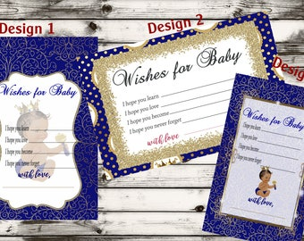 Wishes for baby boy prince, child adoption party favor, Baby Boy Prince,Baby Shower idea,Unique Baby Shower cards, Activity Game.  Set of 30