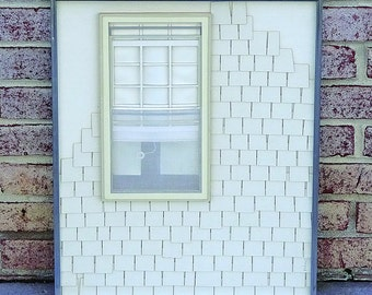 Mid Century 3D Paper Cutout Art of large window on the side of a building with shaker style shingles by artist Rabine - UNIQUE!!
