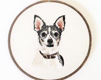 Custom hand embroidered pet portrait 6 inch dog cat animal keepsake hoop art design your own