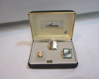 Mother of Pearl Cufflink and Tie Tac Set in Original Anson Box