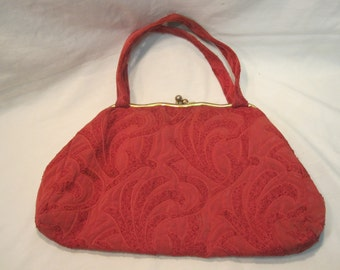 Vintage Tapestry Cloth Purse/ Hand Bag from the 40's-50's