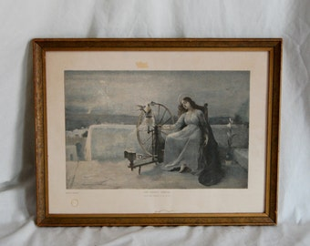 Antique Vintage Framed Print The Virgins Thread by F.H. Lucas