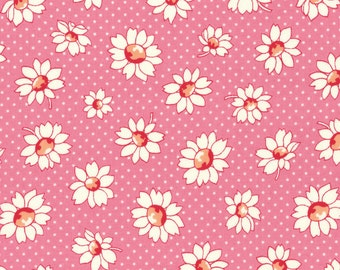 Lecien Retro 30's Child's PINK Daisy  Cotton Quilt Fabric by 1/2 yd. #31281-20