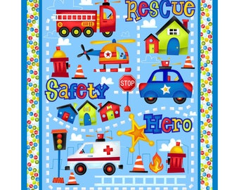 Be My Hero Henry Glass Firetruck panel, Children Co-ordinate  Novelty cotton quilt fabric by the yard #HEG1016P-11