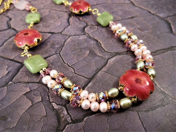Pink and Green Pearl and Gemstone Necklace