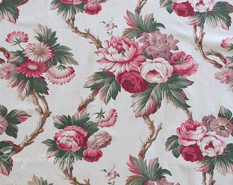 Gorgeous Vintage Barkcloth Era ROSE FABRIC, 1940's, Roses, Pink Roses, Sewing, Pillows