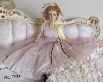 Gorgeous 1930's FRENCH Style BOUDOIR DOLL, Flapper Era, Composite, Bed Doll, France, Pink Taffeta Dress, Tulle, Shabby Chic