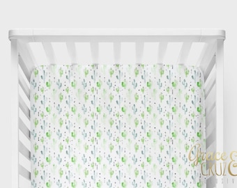 Fitted Crib Sheet - Modern Watercolor Cactus in green and blue