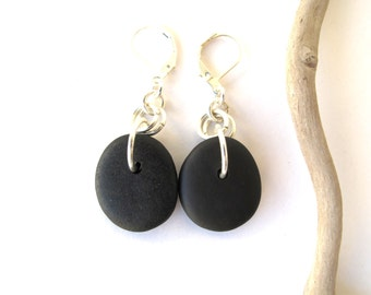 Beach Stone Earrings Mediterranean Beach Pebble River Stone Jewelry Natural Stone Rock Earrings Striped Black Silver PINO