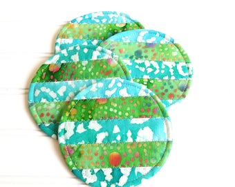 Colorful Coaster Set, Quilted Mug Rugs, Bright Batiks, Spring Colors Tropical