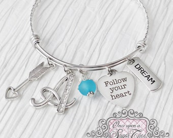 Follow your heart Jewelry, Arrow Bracelet, Letter Bangle Bracelet,Personalized Jewelry-Dream Bracelet, Friendship Jewelry, Best Friend, Grad