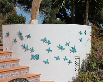 20 Flying birds outdoor wall art made from ceramic that pop out from wall, birds garden decor glazed in turquoise, garden art birds - cranes