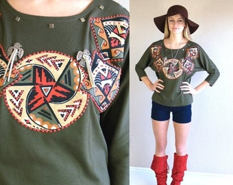 Sale vtg 80s olive green SOUTHWESTERN PRINT native Batwing SHIRT top xs/s tunic Navajo festival studs fringe