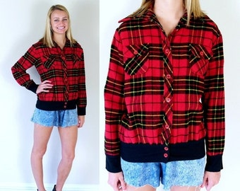 Sale vintage 70s RED PLAID soft FLANNEL Shirt preppy Medium-Large grunge top jacket womens hipster oversized