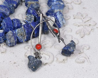 Oxidized silver earrings with rough lapis lazuli and carnelian