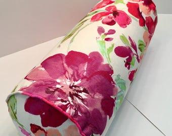 Floral Bolster in Kaufmann Paint Palette Orchid Designer Linen Fabric