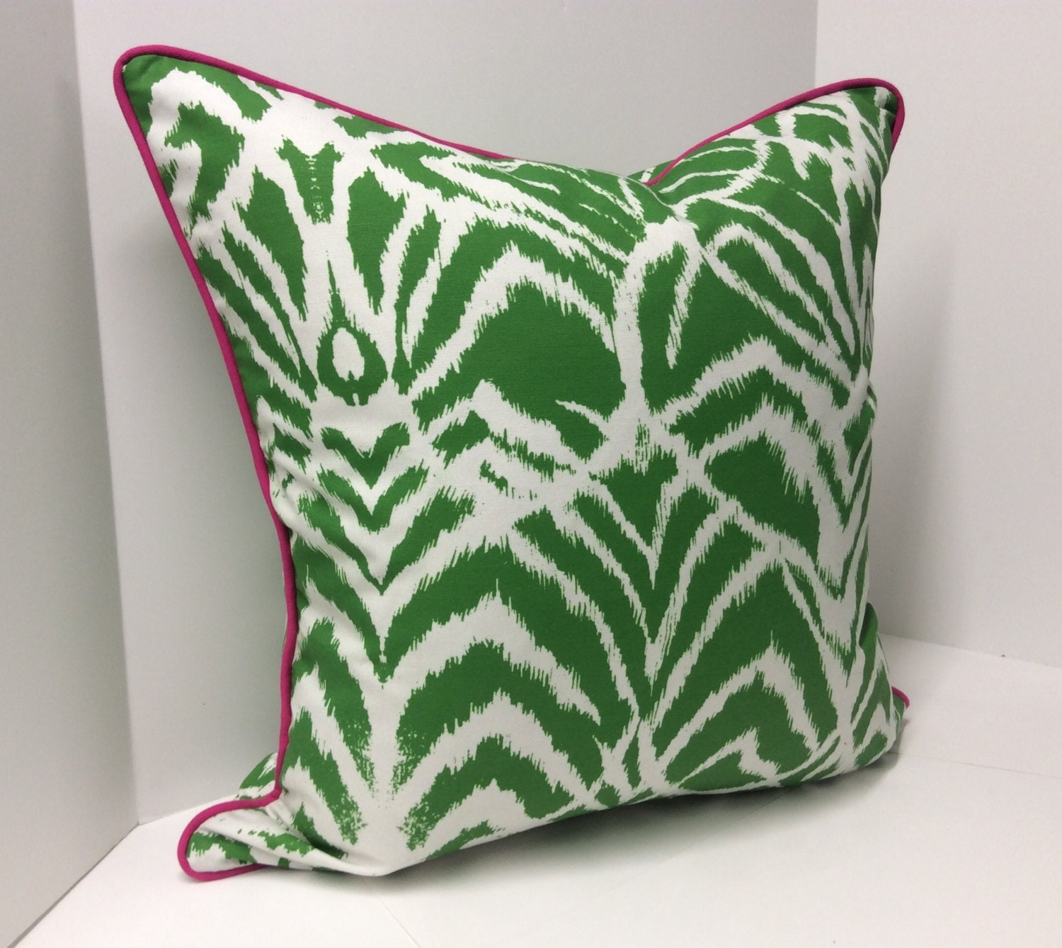 Kelly Green Wild Ikat Decorative Pillow Cover Design