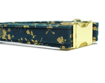 Gold Floral Dog Collar | Your choice of metal buckle or plastic buckle | Holiday Dog Collar | Gold Dog Collar | Girl Dog Collar
